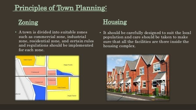 Zoning • A town is divided into suitable zones such as commercial zone, industrial zone, residential zone, and certain rul...