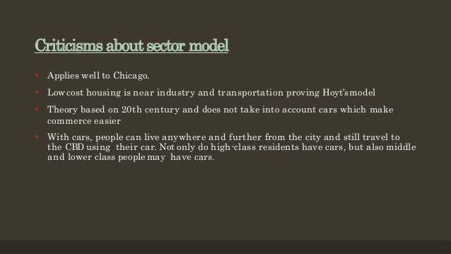 Criticisms about sector model  Applies well to Chicago.  Low cost housing is near industry and transportation proving Ho...