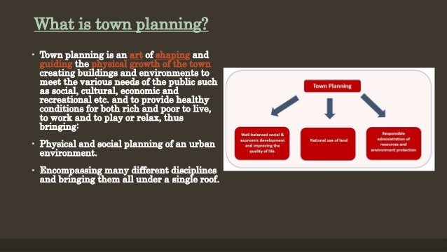 What is town planning? • Town planning is an art of shaping and guiding the physical growth of the town creating buildings...