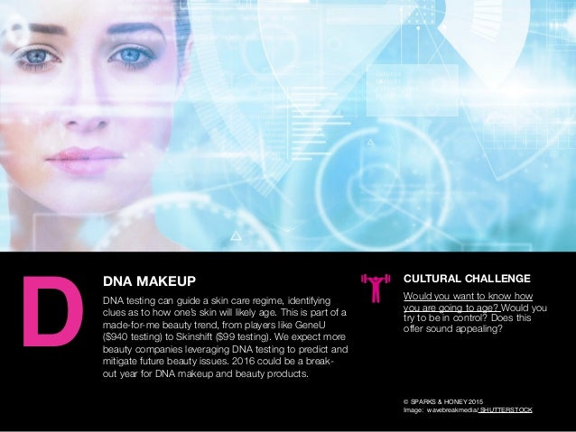 AGENCY OF RELEVANCE DNA MAKEUP DNA testing can guide a skin care regime, identifying clues as to how one's skin will likel...