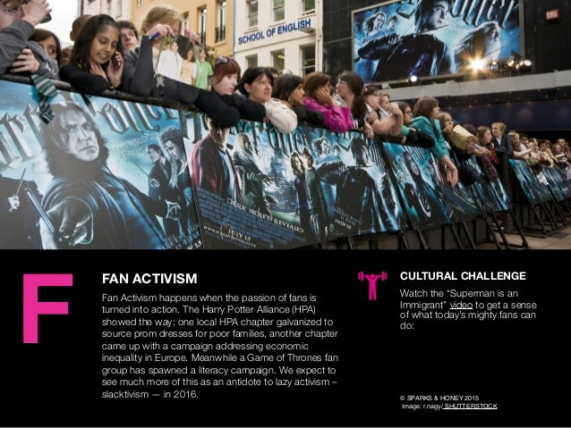 AGENCY OF RELEVANCE FAN ACTIVISM Fan Activism happens when the passion of fans is turned into action. The Harry Potter All...