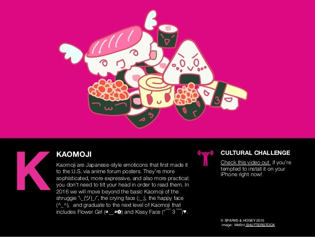AGENCY OF RELEVANCE KAOMOJI Kaomoji are Japanese-style emoticons that first made it to the U.S. via anime forum posters. Th...