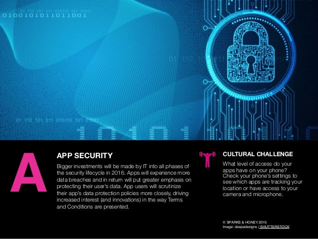 AGENCY OF RELEVANCE APP SECURITY Bigger investments will be made by IT into all phases of the security lifecycle in 2016. ...