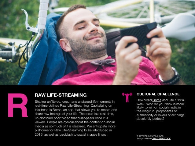AGENCY OF RELEVANCE RAW LIFE-STREAMING Sharing unfiltered, uncut and unstaged life moments in real-time defines Raw Life-Str...