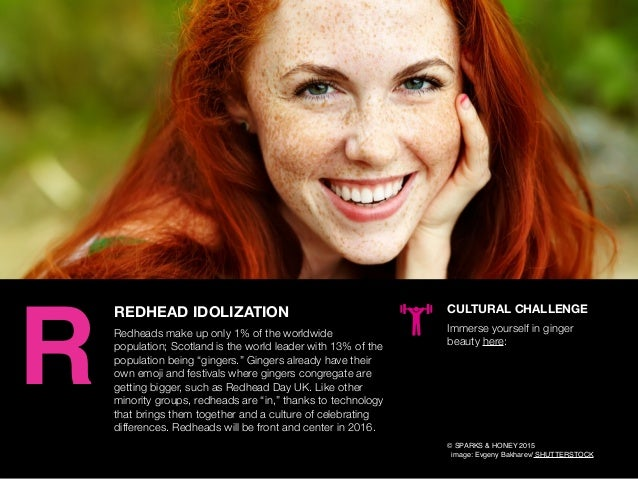 AGENCY OF RELEVANCE REDHEAD IDOLIZATION Redheads make up only 1% of the worldwide population; Scotland is the world leader...