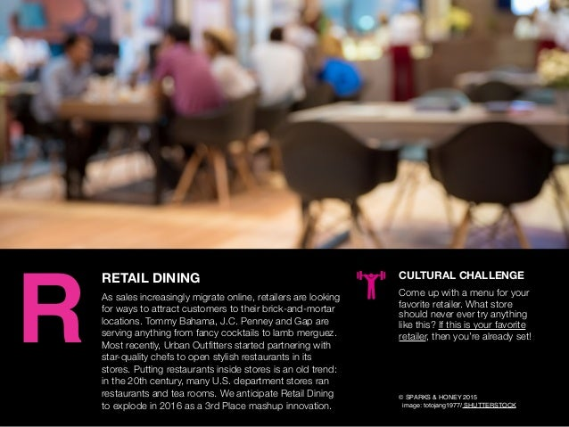 AGENCY OF RELEVANCE RETAIL DINING As sales increasingly migrate online, retailers are looking for ways to attract customer...