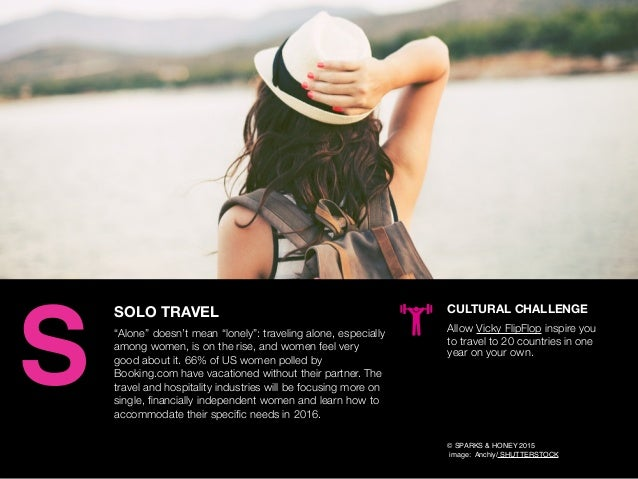 "AGENCY OF RELEVANCE SOLO TRAVEL ""Alone"" doesn't mean ""lonely"": traveling alone, especially among women, is on the rise, an..."