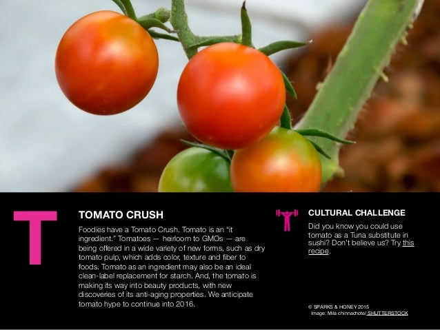 "AGENCY OF RELEVANCE TOMATO CRUSH Foodies have a Tomato Crush. Tomato is an ""it ingredient."" Tomatoes — heirloom to GMOs — ..."