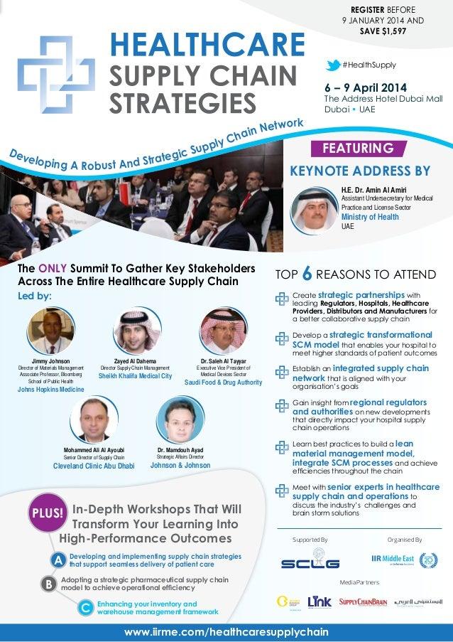 REGISTER BEFORE 9 JANUARY 2014 AND SAVE $1,597  #HealthSupply  6 – 9 April 2014  The Address Hotel Dubai Mall Dubai • UAE ...