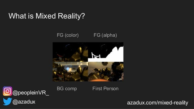 What is Mixed Reality? FG (color) @azadux azadux.com/mixed-reality @peopleinVR_ FG (alpha) BG comp First Person