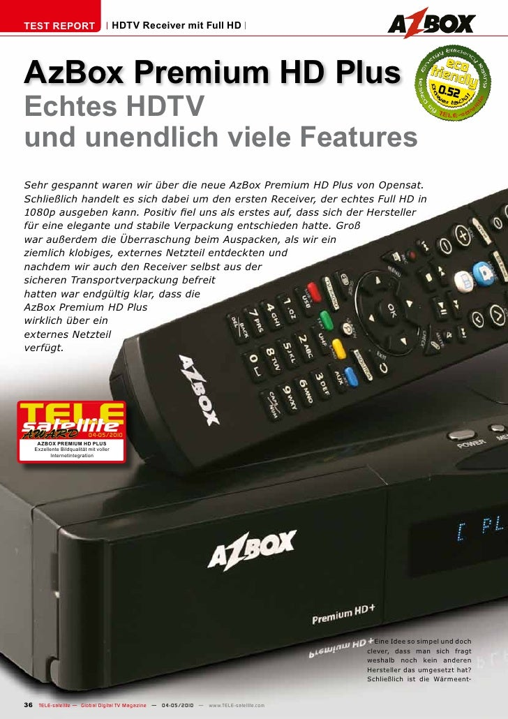TEST REPORT                             HDTV Receiver mit Full HD     AzBox Premium HD Plus                               ...