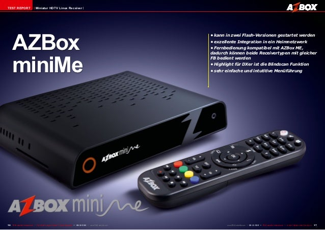 TEST REPORT                     Miniatur HDTV Linux Receiver     AZBox                                                    ...