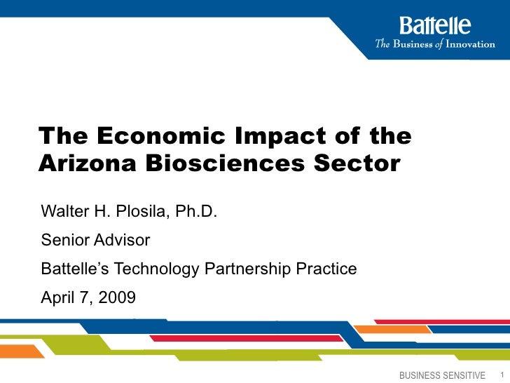 The Economic Impact of the Arizona Biosciences Sector   Walter H. Plosila, Ph.D. Senior Advisor Battelle's Technology Part...
