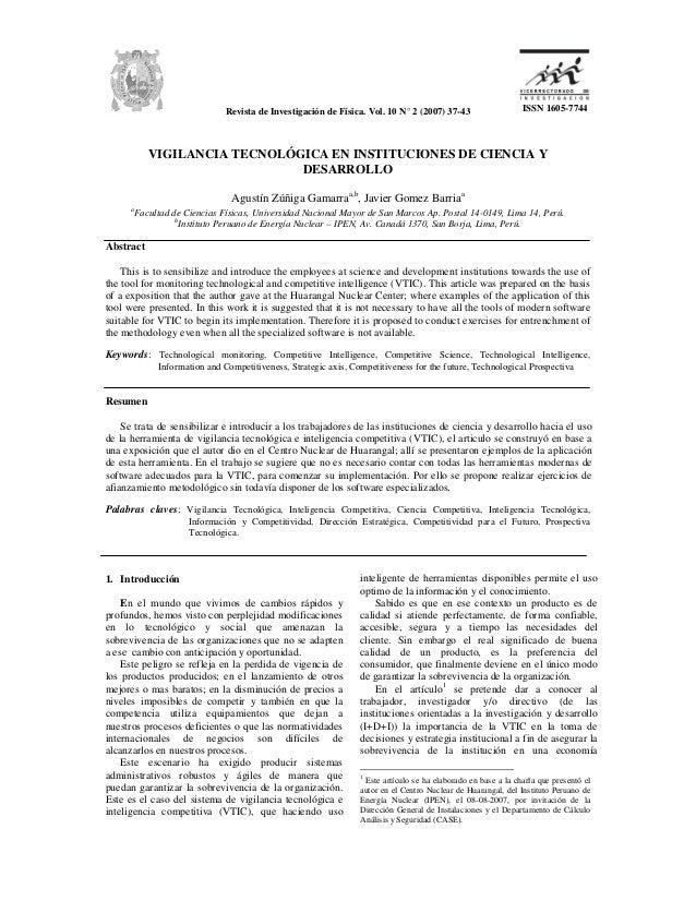 Revista de Investigación de Física. Vol. 10 N° 2 (2007) 37-43                    ISSN 1605-7744             VIGILANCIA TEC...