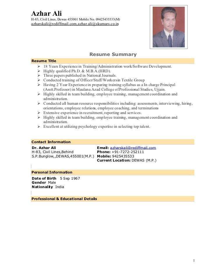 Curriculum Vitae Qualifications