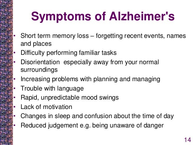 symptoms causes and treatment of alzheimers disease Alzheimer disease 1 alzheimer disease introduction this research paper will examine factors, signs of symptoms, treatment, when to visit a doctor and how to care for a love one with alzheimer disease.