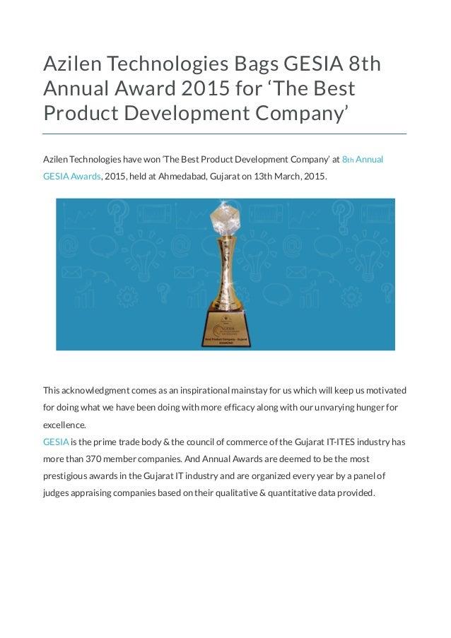 Azilen Technologies Bags Gesia 8th Annual Award 2015 For