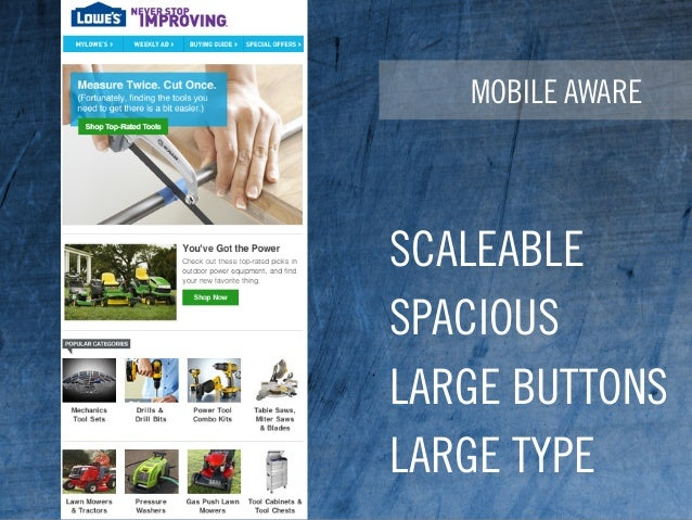 MOBILE AWARE SCALEABLE SPACIOUS LARGE BUTTONS LARGE TYPE