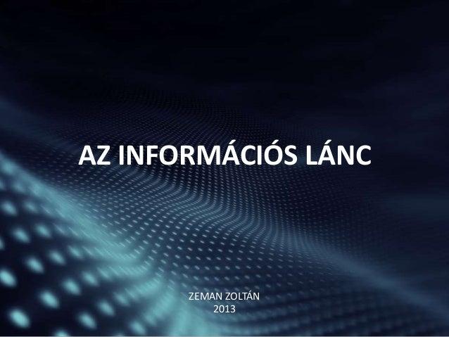 AZ INFORMÁCIÓS LÁNC  ZEMAN ZOLTÁN 2013