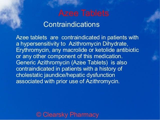 Azithromycin contra indication
