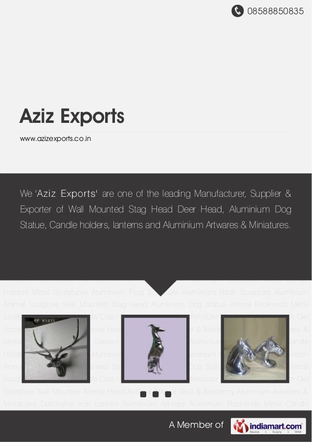 08588850835A Member ofAziz Exportswww.azizexports.co.inWall Mounted Stag Head Aluminium Dog Statue Animal Bookends Metal S...