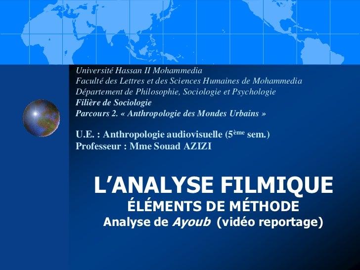 Université Hassan II MohammediaFaculté des Lettres et des Sciences Humaines de MohammediaDépartement de Philosophie, Socio...