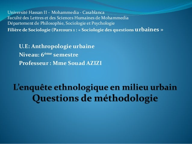 Université Hassan II – Mohammedia - Casablanca Faculté des Lettres et des Sciences Humaines de Mohammedia Département de P...