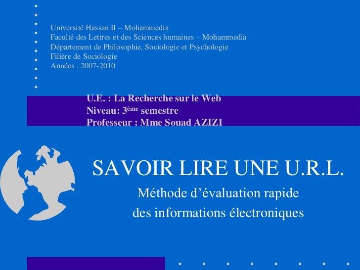 Université Hassan II – MohammediaFaculté des Lettres et des Sciences humaines – MohammediaDépartement de Philosophie, Soci...