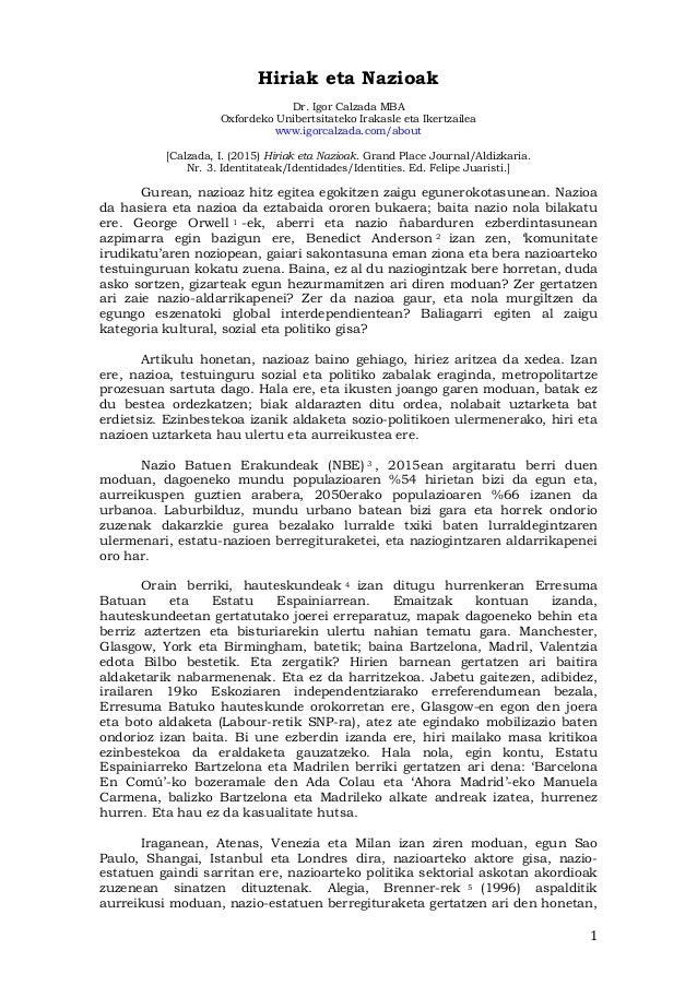 1   Hiriak eta Nazioak Dr. Igor Calzada MBA Oxfordeko Unibertsitateko Irakasle eta Ikertzailea www.igorcalzada.com/abo...