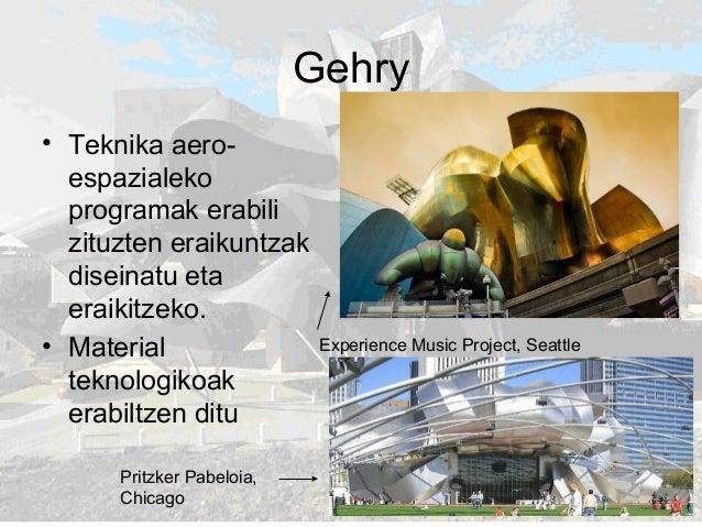 Gehry • Teknika aero- espazialeko programak erabili zituzten eraikuntzak diseinatu eta eraikitzeko. • Material teknologiko...