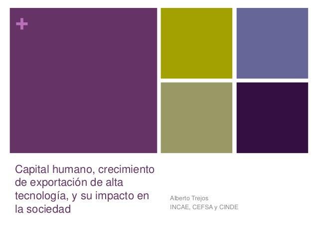 + Capital humano, crecimiento de exportación de alta tecnología, y su impacto en la sociedad Alberto Trejos INCAE, CEFSA y...