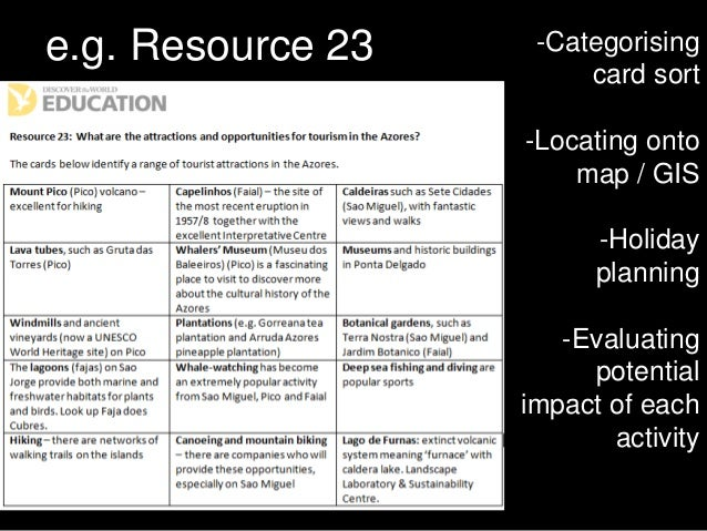 e.g. Resource 23 -Categorising card sort -Locating onto map / GIS -Holiday planning -Evaluating potential impact of each a...