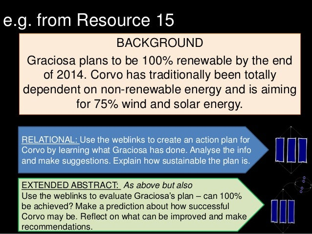 e.g. from Resource 15 BACKGROUND Graciosa plans to be 100% renewable by the end of 2014. Corvo has traditionally been tota...
