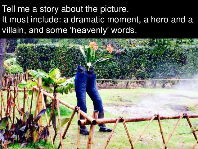 Tell me a story about the picture. It must include: a dramatic moment, a hero and a villain, and some 'heavenly' words.