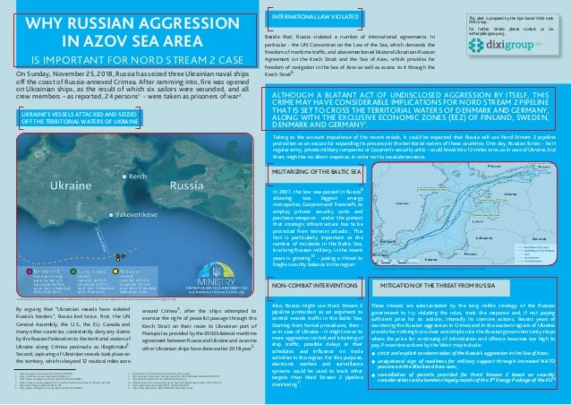 WHY RUSSIAN AGGRESSION IN AZOV SEA AREA IS IMPORTANT FOR NORD STREAM 2 CASE UKRAINE'S VESSELS ATTACKED AND SEIZED OFF THE ...