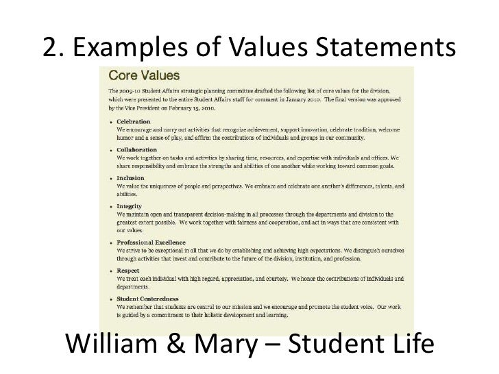 a zsr values statement With values statement template