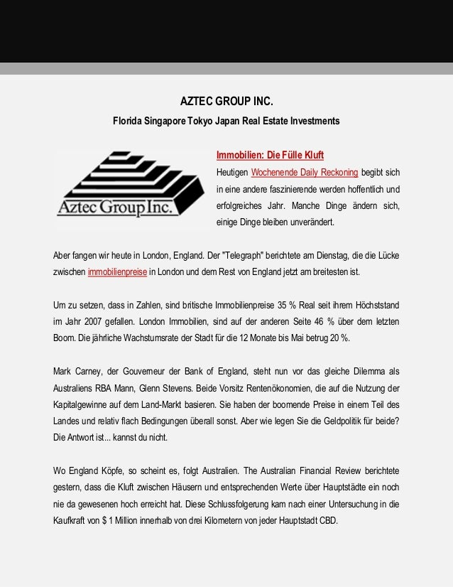 AZTEC GROUP INC. Florida Singapore Tokyo Japan Real Estate Investments Immobilien: Die Fülle Kluft Heutigen Wochenende Dai...