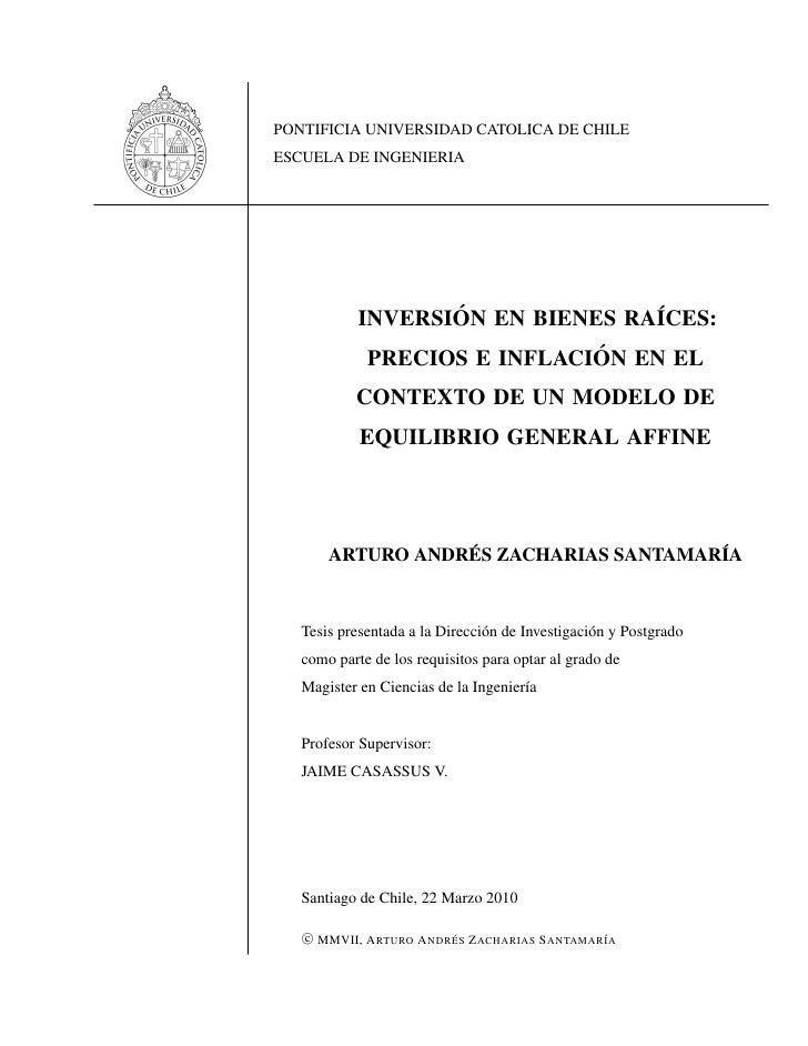 PONTIFICIA UNIVERSIDAD CATOLICA DE CHILE ESCUELA DE INGENIERIA                        ´              ´             INVERSI...