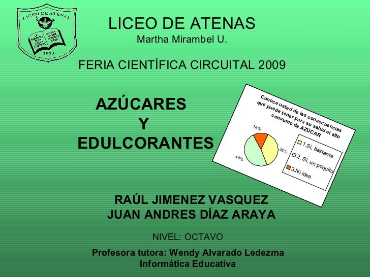 AZÚCARES  Y EDULCORANTES RAÚL JIMENEZ VASQUEZ JUAN ANDRES DÍAZ ARAYA LICEO DE ATENAS Martha Mirambel U. FERIA CIENTÍFICA C...