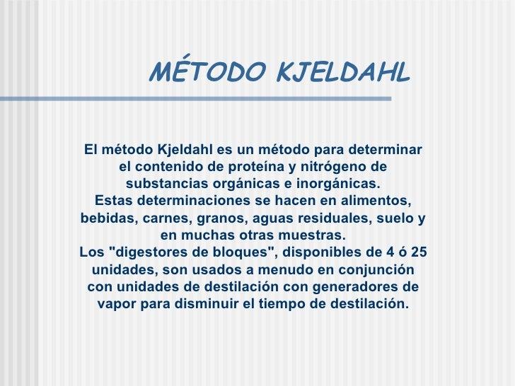 Determinacion de proteinas metodo kjeldahl pdf