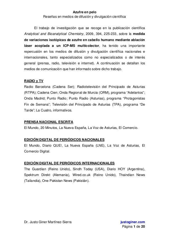 Azufre en peloReseñas en medios de difusión y divulgación científicaDr. Justo Giner Martínez-Sierra justoginer.comPágina 1...