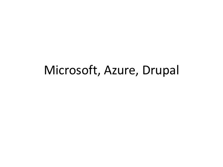Microsoft, Azure, Drupal