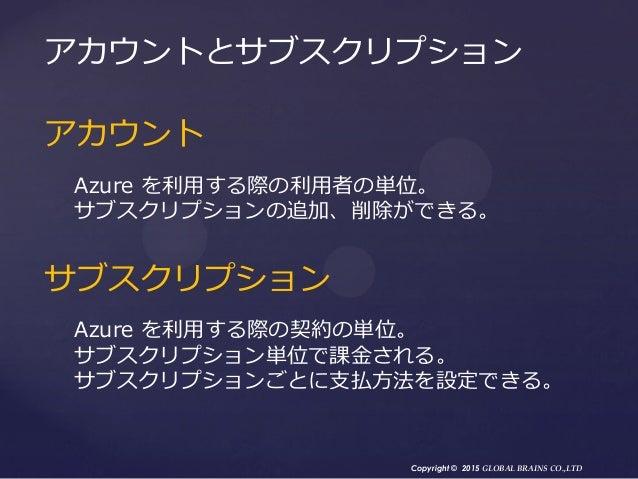 Copyright © 2015 GLOBAL BRAINS CO.,LTD アカウント Azure を利用する際の利用者の単位。 サブスクリプションの追加、削除ができる。 サブスクリプション Azure を利用する際の契約の単位。 サブスクリ...