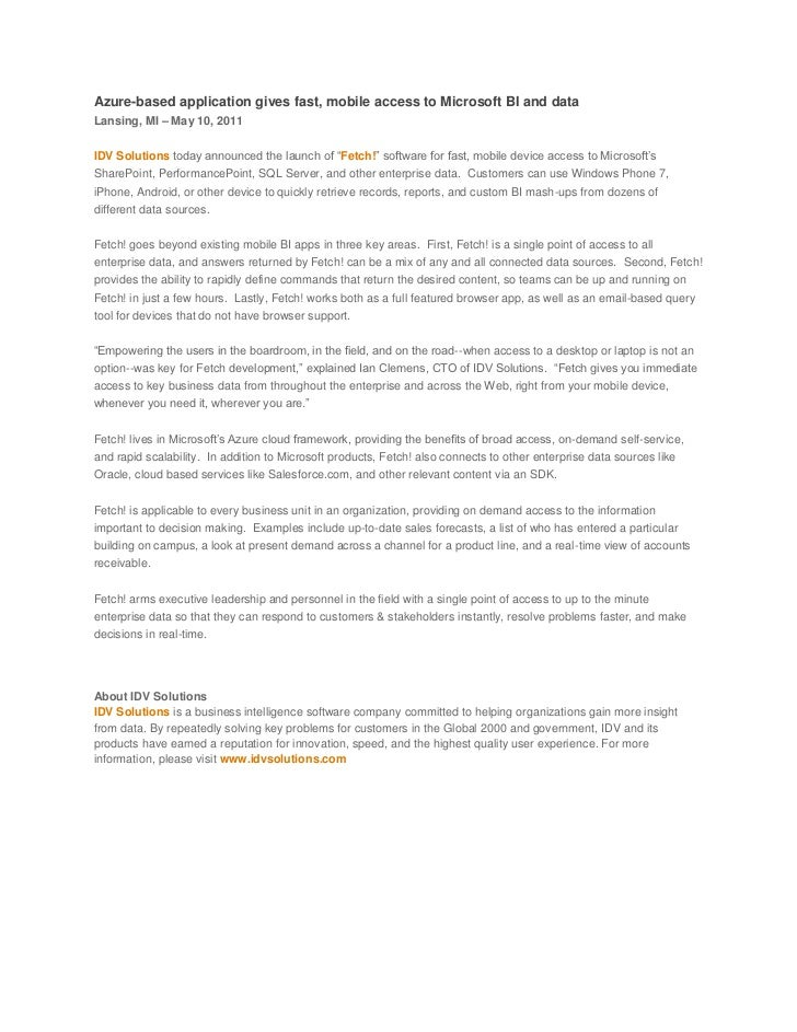 Azure-based application gives fast, mobile access to Microsoft BI and data<br />Lansing, MI – May 10, 2011<br />IDV Solut...