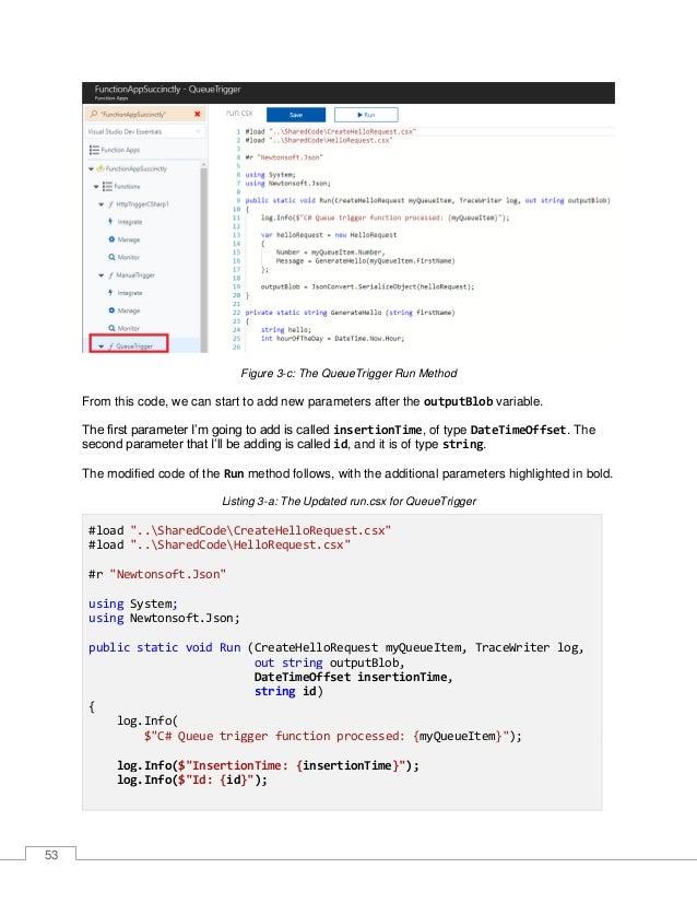 54 var helloRequest = new HelloRequest { Number = myQueueItem.Number, Message = GenerateHello(myQueueItem.FirstName) }; ou...
