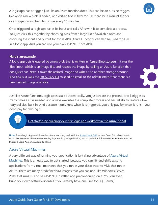 Azure Quick Start Guide for .NET Developers 11 A logic app has a trigger, just like an Azure function does. This can be an...