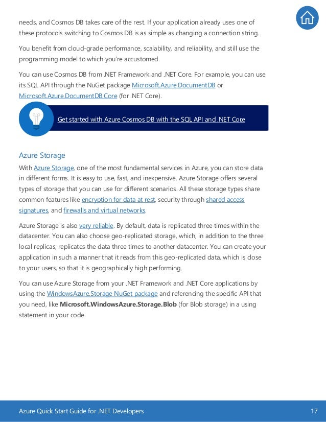 Azure Quick Start Guide for .NET Developers 17 needs, and Cosmos DB takes care of the rest. If your application already us...