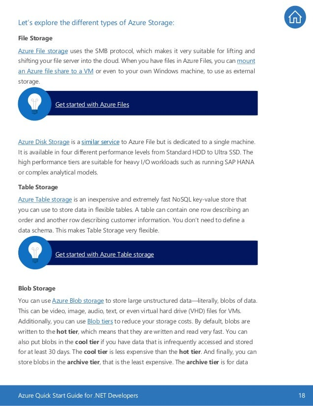 Azure Quick Start Guide for .NET Developers 18 Let's explore the different types of Azure Storage: File Storage Azure File...