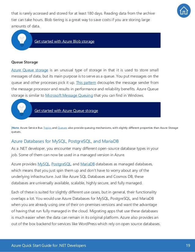 Azure Quick Start Guide for .NET Developers 19 that is rarely accessed and stored for at least 180 days. Reading data from...