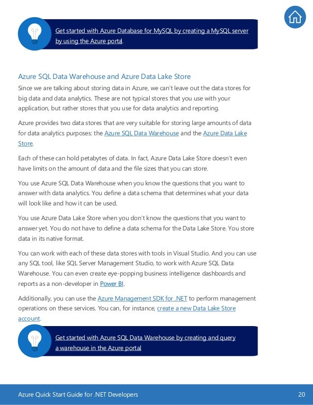 Azure Quick Start Guide for .NET Developers 20 Azure SQL Data Warehouse and Azure Data Lake Store Since we are talking abo...